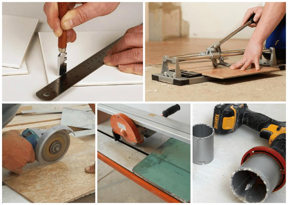 Использование плиткореза и болгарки для распиливания плитки