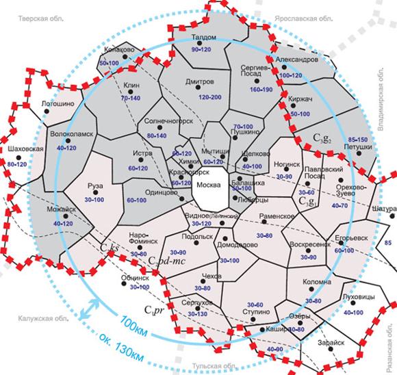 Карта грунтовых вод по Московской области