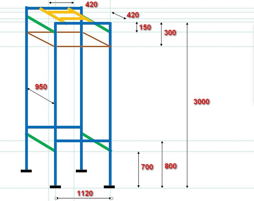 Схема каркаса душевой кабины