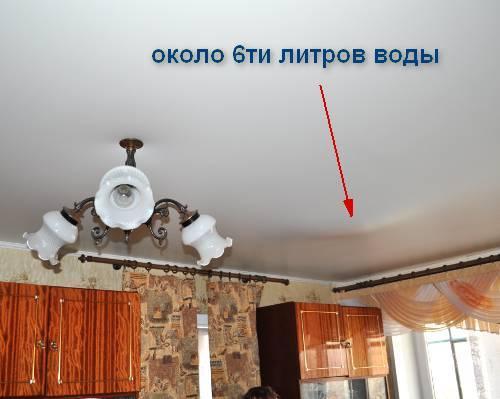 6 литров воды под натяжным потолком