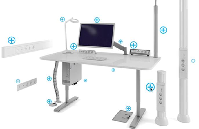 Как можно расположить розетки вокруг компьютерного стола