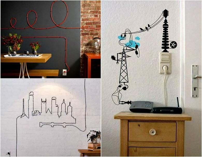Маскировка проводов на стене