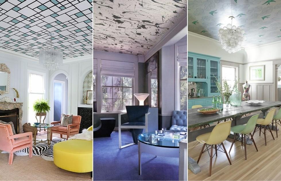 Примеры фотообоев на потолке
