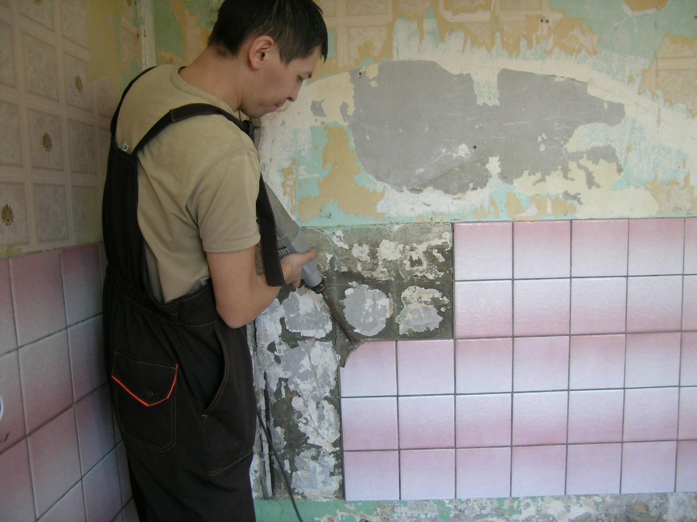 Снятие старой плитки