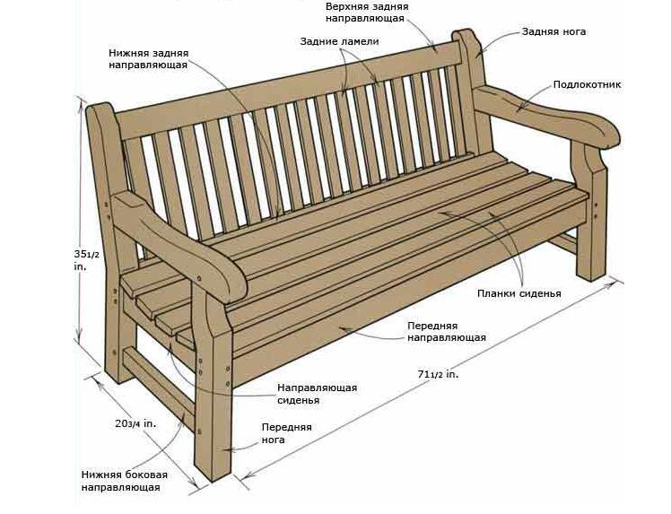 Чертех скамейки с изогнутой спинкой