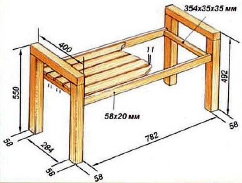 Чертеж лавка с прямоугольной рамой сидения
