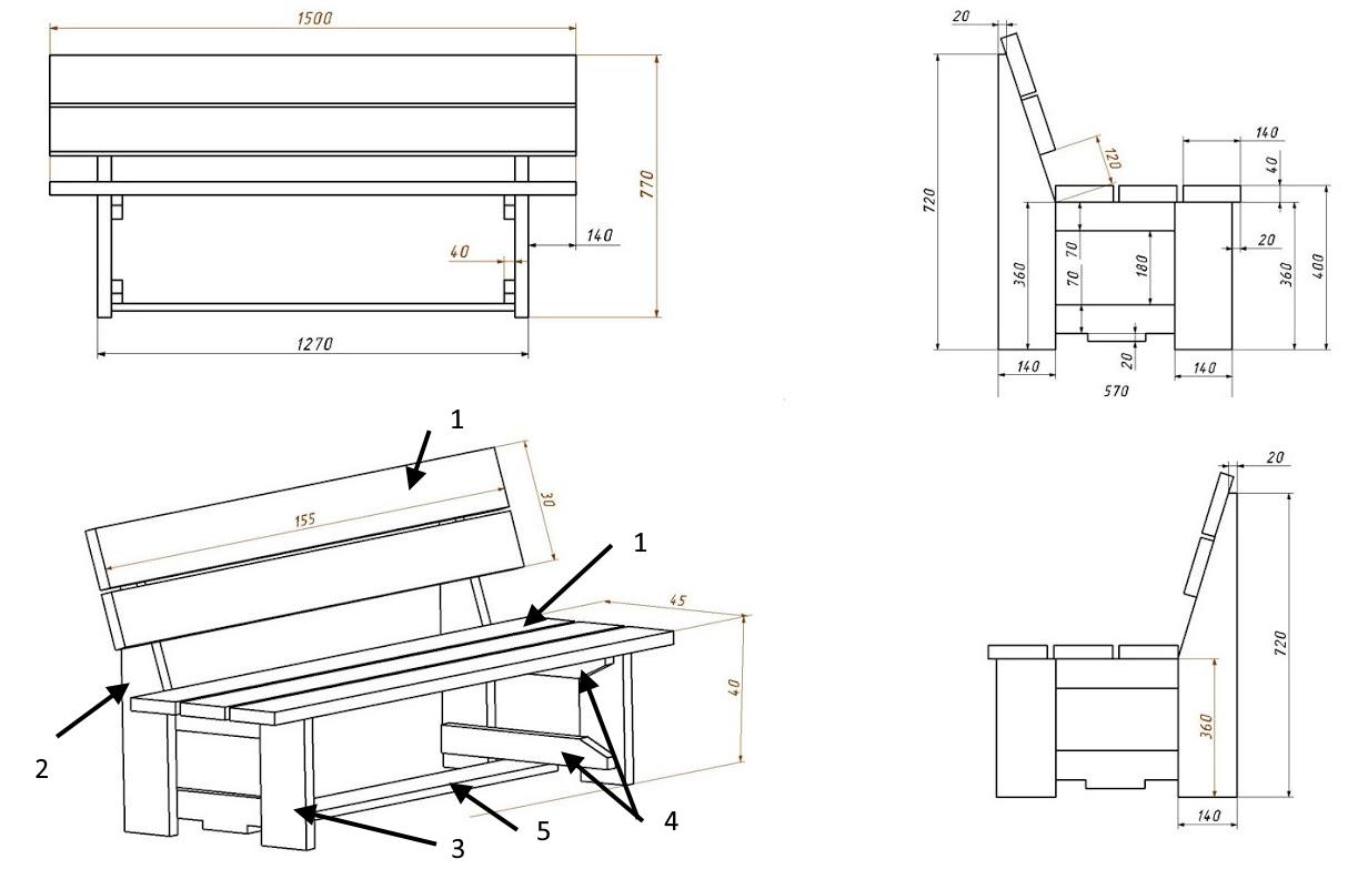 Чертеж простой скамейки со спинкой