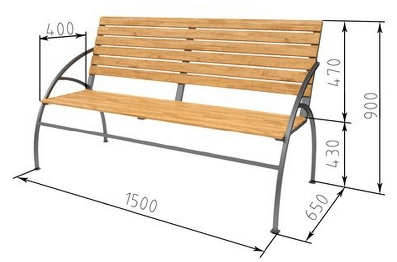Чертеж скамейки с гнутым профилем размеры