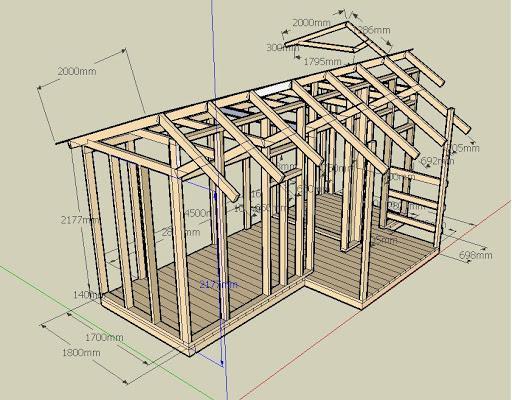 Деревянный сарай с двускатной крышей