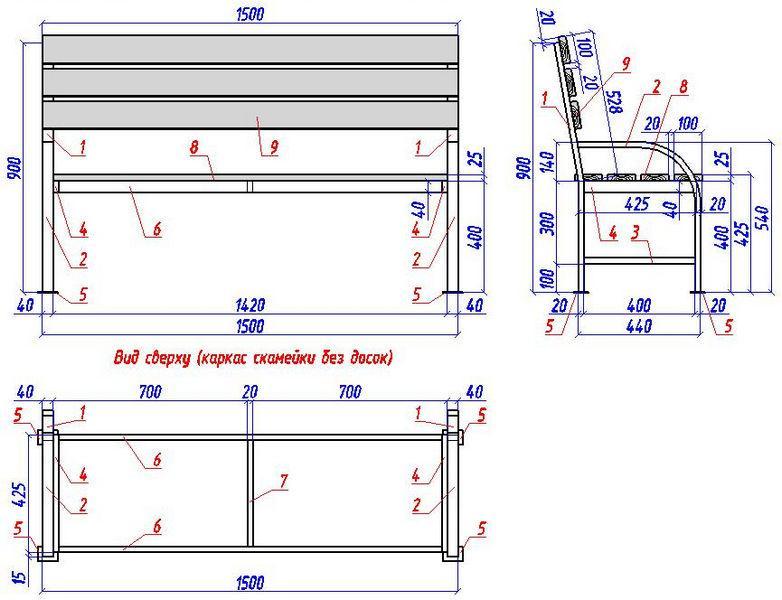 подробный чертеж скамьи для дачи с гнутыми подлокотниками