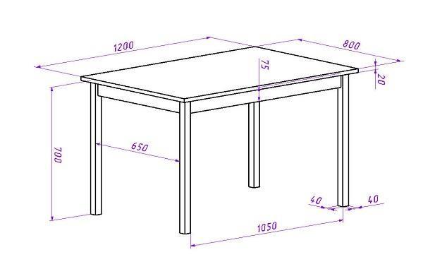Чертеж простого стола