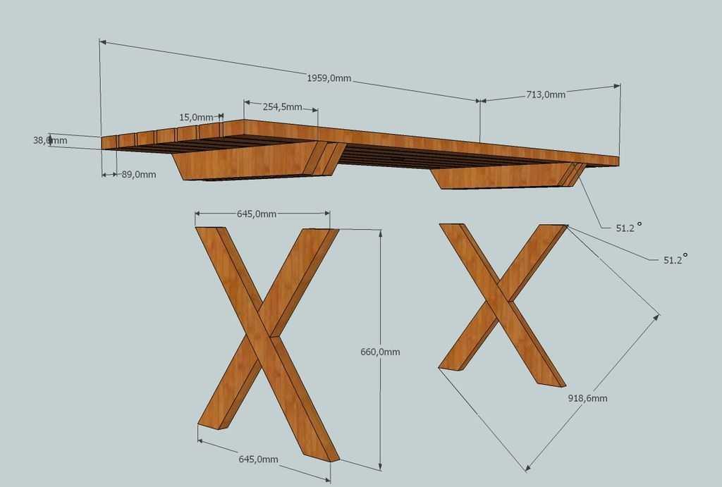 Чертеж стола с Х образными опорами