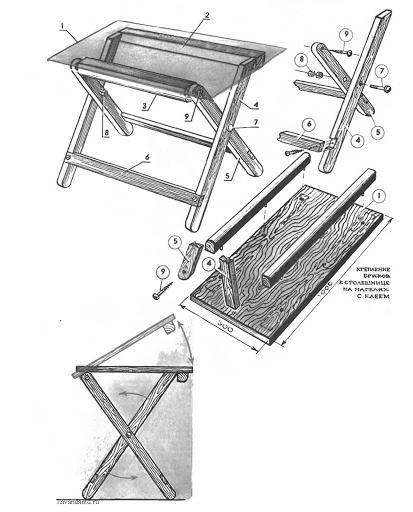 Чертеж стола с откидной столешницей