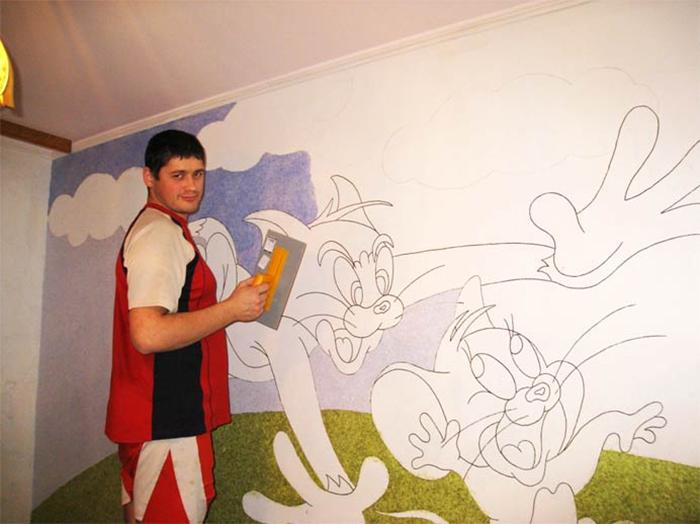 Раскраска стены жидкими обоями