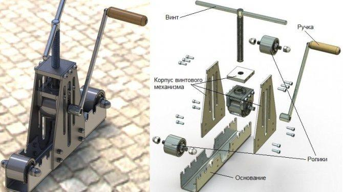 Вальцевый трубогиб для профильной трубы - схема