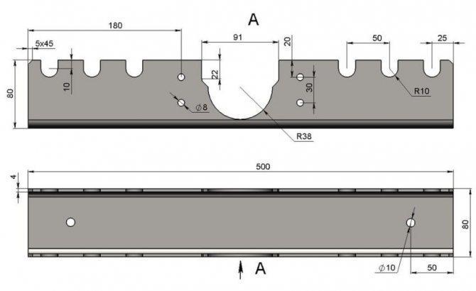 чертеж основания с размерами элементов