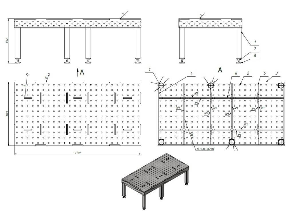 Чертеж сборочно-сварочный стол