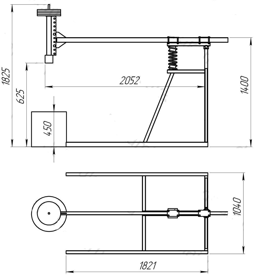 Схема дровокола с размерами