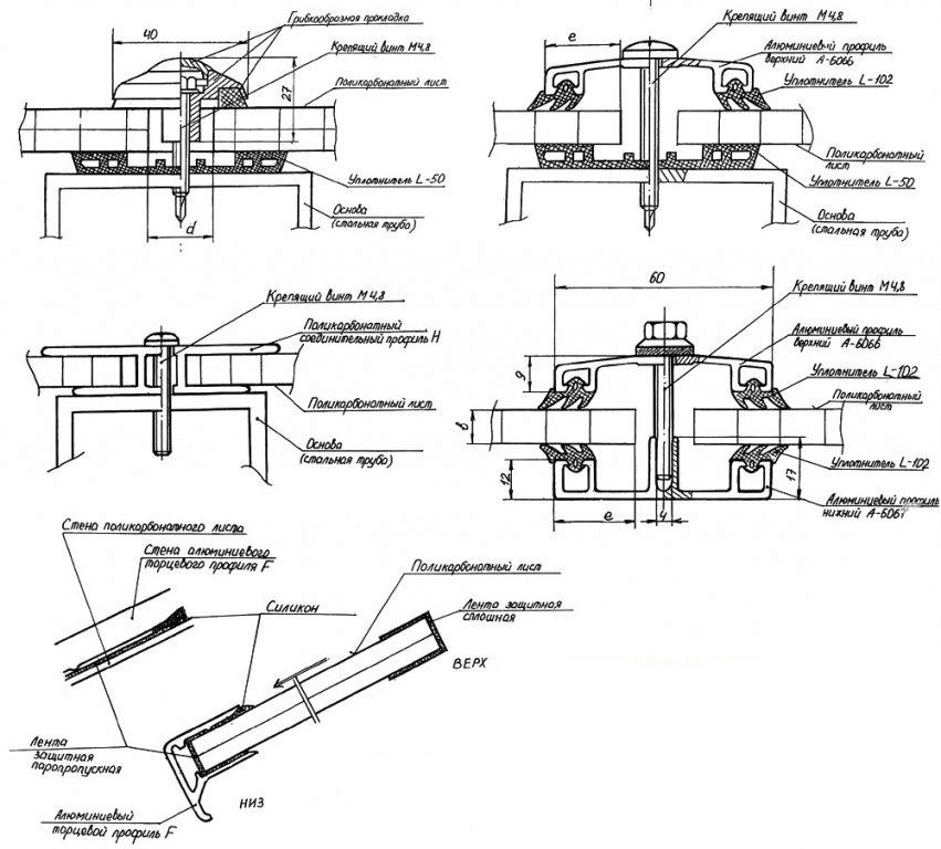 схемы крепления поликарбоната к металлическому каркасу