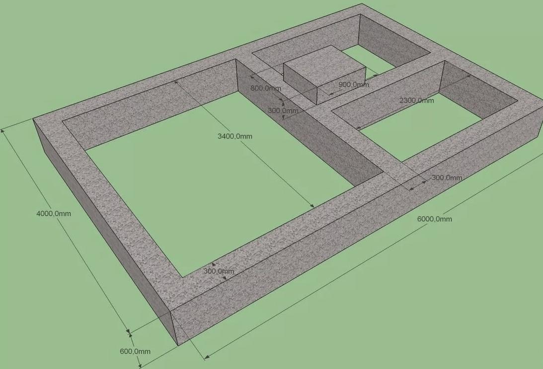 Размеры фундамента под дом из пеноблоков