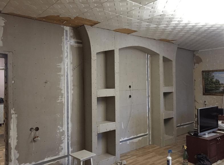 Ремонт гостиной в квартире. Фото после ремонта. Ремонт потолка, стен и пола. Пошаговая инструкция